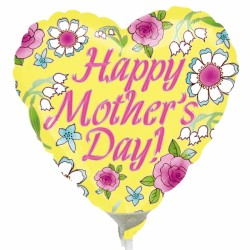 """YELLOW HAPPY MOTHER'S DAY 9"""" A15 INFLATED WITH CUP & STICK"""