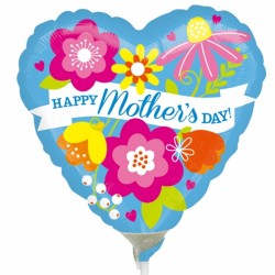 "HAPPY MOTHER'S DAY BLUE 9"" A15 INFLATED WITH CUP & STICK"