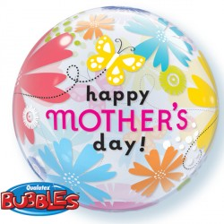 "MOTHER'S DAY BUTTERFLY FLORAL 22"" SINGLE BUBBLE"
