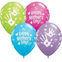 """HANDPRINTS MOTHER'S DAY 11"""" ROBIN'S EGG BLUE, WILD BERRY, SPRING LILAC & LIME GREEN (25CT) YGX"""