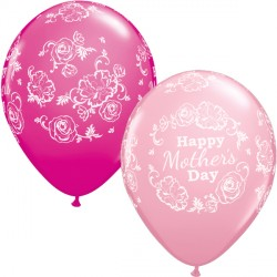 "MOTHER'S DAY FLORAL DAMASK 11"" PINK & WILD BERRY (25CT)"
