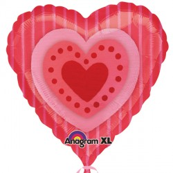 "RED HEART PINK STRIPES 18"" SALE"