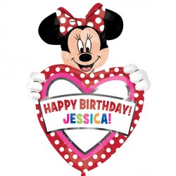 "MINNIE MOUSE BIRTHDAY PERSONALISED SHAPE P40 PKT (24"" x 33"")"
