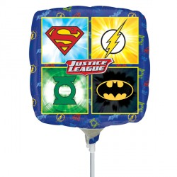 "JUSTICE LEAGUE EMBLEMS 9"" A20 INFLATED WITH CUP & STICK"