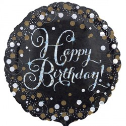 SPARKLING CELEBRATION BLACK & GOLD HAPPY BIRTHDAY STANDARD S40 PKT