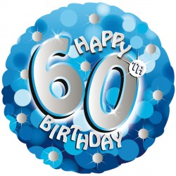 BLUE SPARKLE PARTY HAPPY 60TH BIRTHDAY STANDARD S40 PKT
