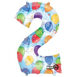 BALLOONS & STREAMERS NUMBER 2 SHAPE P50 PKT