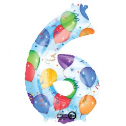 BALLOONS & STREAMERS NUMBER 6 SHAPE P50 PKT