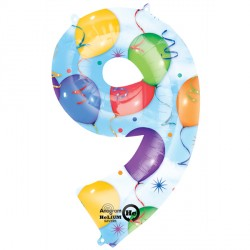BALLOONS & STREAMERS 9 NUMBER SHAPE P50 PKT