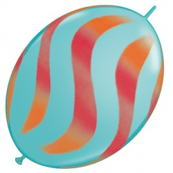 "WAVY STRIPES ORANGE & RED QUICK LINK 12"" CARIBBEAN BLUE (50CT)"