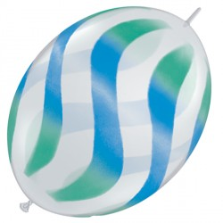 "WAVY STRIPES GREEN & BLUE QUICK LINK 12"" DIAMOND CLEAR (50CT)"