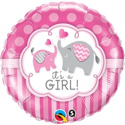 "IT'S A GIRL ELEPHANTS 18"" PKT"