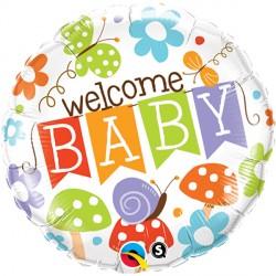 """WELCOME BABY BANNER GARDEN 18"""" PKT"""
