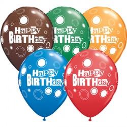 "BOLD DOTS BIRTHDAY 11"" DARK BLUE, CHOCOLATE, RED, GREEN & ORANGE (25CT) YGX"