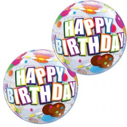 "BIRTHDAY CUPCAKE 12"" AIR-FILLED BUBBLE (10CT)"