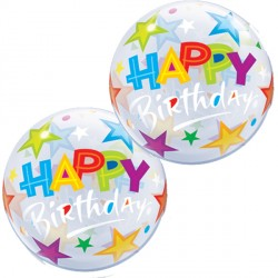 "BIRTHDAY BRILLIANT STARS 12"" AIR-FILLED BUBBLE (10CT)"