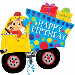 DOG & DUMPTRUCK HAPPY BIRTHDAY SHAPE P35 PKT