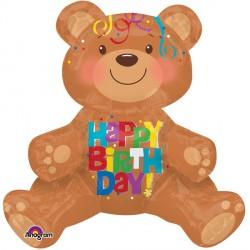 "SITTING BEAR HAPPY BIRTHDAY MULTI BALLOON A70 PKT (17"" x 19"")"
