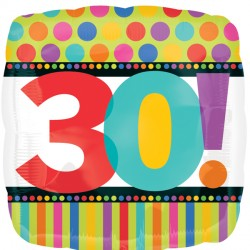 HAPPY BIRTHDAY DOTS & STRIPES 30 STANDARD S40 PKT