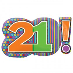 HAPPY BIRTHDAY DOTS & STRIPES 21! SHAPES P30 PKT