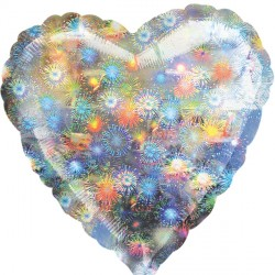 HOLOGRAPHIC FIREWORKS HEART STANDARD S40 FLAT