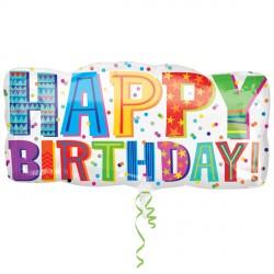"TYPE HAPPY BIRTHDAY SHAPE P35 PKT (33"" x 16"")"
