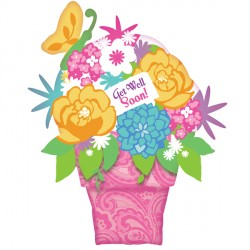 GET WELL FLOWER POT SHAPE P35 PKT