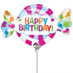 SWEETSHOP BIRTHDAY MINI SHAPE A30 INFLATED WITH CUP & STICK