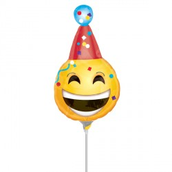 BDAY EMOJI MINI SHAPE A30 INFLATED WITH CUP & STICK