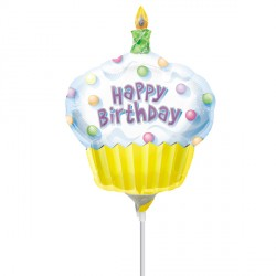 CUPCAKE HAPPY BIRTHDAY MINI SHAPE A30 INFLATED WITH CUP & STICK
