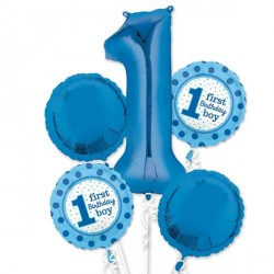 1ST BIRTHDAY BOY 5 BALLOON BOUQUET P75 PKT (3CT)