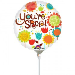 "YOU'RE SPECIAL CHEERY FLOWERS 9"" A15 INFLATED WITH CUP & STICK"