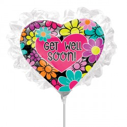 FLORAL RUFFLE GET WELL SOON MINI SHAPE A30 INFLATED WITH CUP & STICK