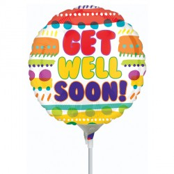 "GET WELL SOON 9"" A15 INFLATED WITH CUP & STICK"
