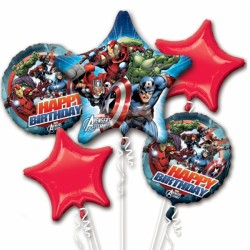 AVENGERS ASSEMBLE BIRTHDAY 5 BALLOON BOUQUET P75 PKT (3CT)