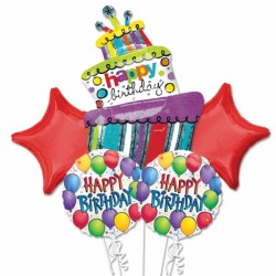 BALLOON FUN BIRTHDAY 5 BALLOON BOUQUET P75 PKT (3CT)