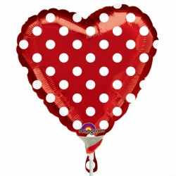 "POLKA DOT RED 9"" A10  INFLATED WITH CUP & STICK"