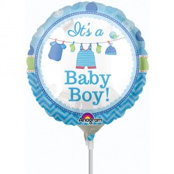 "WITH LOVE BABY BOY 9"" A15 INFLATED WITH CUP & STICK"