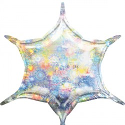 HOLOGRAPHIC FIREWORKS 6 POINT STAR D32 FLAT (3CT)