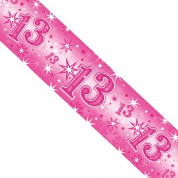 PINK SPARKLE AGE 13 FOIL BANNER 2.6M (1CT X 12 PACKS)