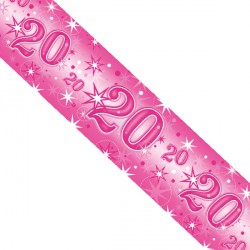 PINK SPARKLE AGE 20 FOIL BANNER 2.6M (1CT X 12 PACKS)