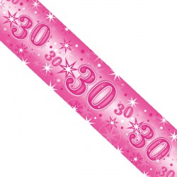 PINK SPARKLE AGE 30 FOIL BANNER 2.6M (1CT X 12 PACKS)