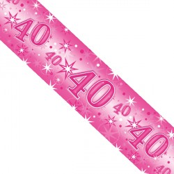 PINK SPARKLE AGE 40 FOIL BANNER 2.6M (1CT X 12 PACKS)