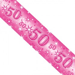 PINK SPARKLE AGE 50 FOIL BANNER 2.6M (1CT X 12 PACKS)