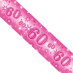 PINK SPARKLE AGE 60 FOIL BANNER 2.6M (1CT X 12 PACKS)