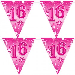 PINK SPARKLE AGE 16 FLAG BANNER 3.6M (1CT X 12 PACKS)