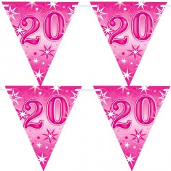 PINK SPARKLE AGE 20 FLAG BANNER 3.6M (1CT X 12 PACKS)