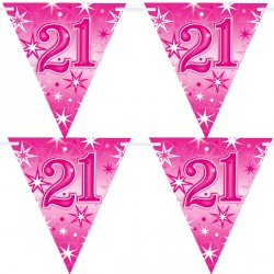 PINK SPARKLE AGE 21 FLAG BANNER 3.6M (1CT X 12 PACKS)