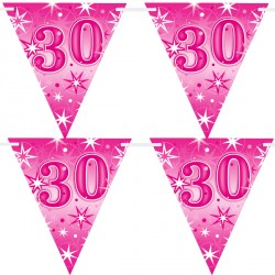 PINK SPARKLE AGE 30 FLAG BANNER 3.6M (1CT X 12 PACKS)