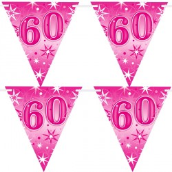 PINK SPARKLE AGE 60 FLAG BANNER 3.6M (1CT X 12 PACKS)